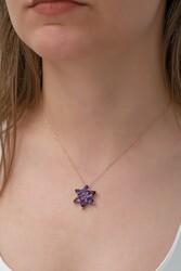 Gumush - Gümüş Mor Lotus Çiçeği Kolye (1)