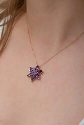 Gümüş Mor Lotus Çiçeği Kolye - Thumbnail