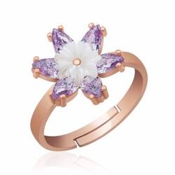 Gumush - Gümüş Lila Lotus Çiçeği Yüzük