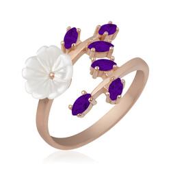 Gumush - Gümüş Mor Yapraklı Bahar Çiçeği Yüzük (1)