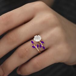 Gümüş Mor Yapraklı Bahar Çiçeği Yüzük - Thumbnail