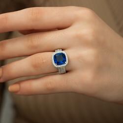 Gümüş Mavi Baget Bayan Yüzük - Thumbnail