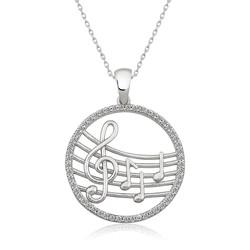 Gumush - Gümüş Müzik Temalı Bayan Kolye