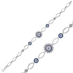 Gumush - Gümüş Nazarlı Çiçek Bayan Bileklik