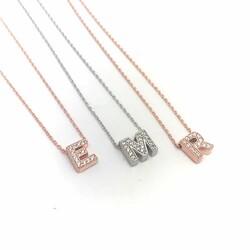 Gümüş 3 Boyutlu Nazarlı Harf Bayan Kolye - Thumbnail