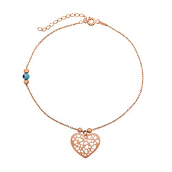 Gumush - Gümüş Nazarlı Kalp Halhal