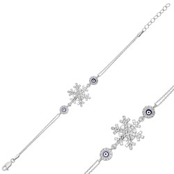 Gumush - Gümüş Nazarlı Kar Tanesi Bayan Bileklik
