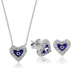 Gumush - Gümüş Nazarlı Kalp Set