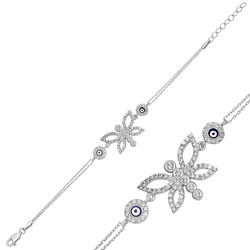 Gumush - Gümüş Nazarlı Kelebek Bayan Bileklik