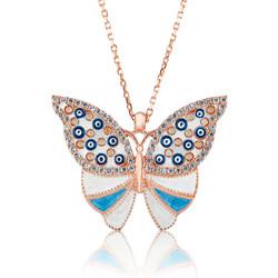 Gumush - Gümüş Nazarlı Kelebek Bayan Kolye