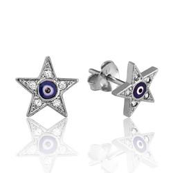 Gumush - Gümüş Nazarlı Yıldız Çivili Küpe (1)