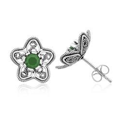 Gumush - Gümüş Telkari Yeşil Nilüfer Çiçeği Çivili Küpe
