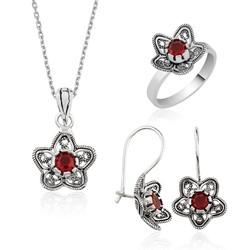 Gumush - Gümüş Nilüfer Çiçeği Telkari Bayan Set