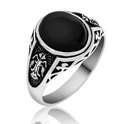 Gumush - Gümüş Siyah Çift Başlı Kartal Erkek Yüzük