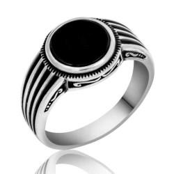Gumush - Gümüş Siyah Taşlı Çizgili Erkek Yüzük