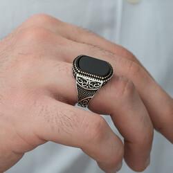 Gümüş Oniks Taşlı Desenli Erkek Yüzük - Thumbnail