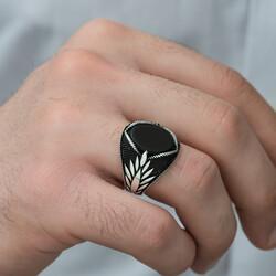 Gümüş Oniks Taşlı İşlemeli Erkek Yüzük - Thumbnail
