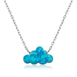 Gumush - Gümüş Mavi Opal Taş Bulut Bayan Kolye