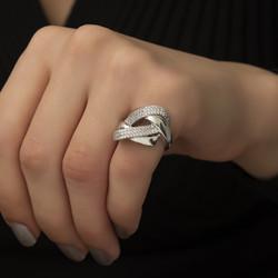 Gümüş Örgü Model Fantazi Yüzük - Thumbnail
