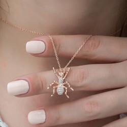Gümüş Örümcek Bayan Kolye - Thumbnail