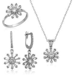 Gumush - Gümüş Trapez Taşlı Çiçek Bayan Set