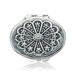 Gumush - Gümüş Papatya Motifli Kapaklı Oval El Aynası