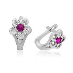 Gumush - Gümüş Pembe Çiçek Çocuk Küpesi