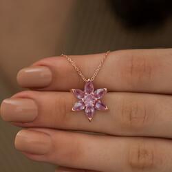 Gümüş Pembe Çiçek Kolye - Thumbnail