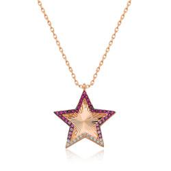 Gumush - Gümüş Pembe Fırfır Desenli Yıldız Bayan Kolye