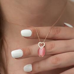 Gümüş Pembe Kedi Gözü Taşlı Kalp Kolye - Thumbnail
