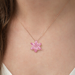 Gumush - Gümüş Pembe Lotus Çiçeği Kolye (1)