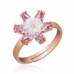 Gumush - Gümüş Pembe Lotus Çiçeği Yüzük