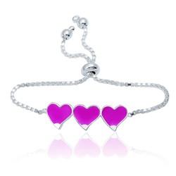 Gumush - Gümüş Pembe Üç Kalp Çocuk Bileklik