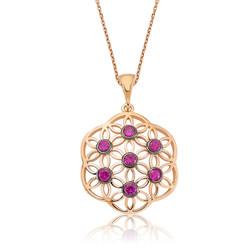 Gumush - Gümüş Pembe Yaşam Çiçeği Bayan Kolye