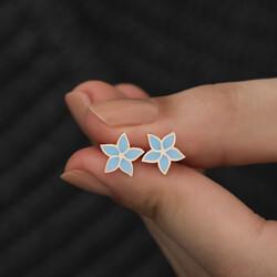 Gümüş Petunya Çiçeği Küpe - Thumbnail