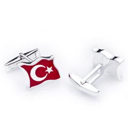 Gumush - Gümüş Türk Bayrağı Kol Düğmesi