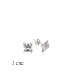 Gumush - Gümüş Kare Tek Taş Zirkon Küpe - 3 mm