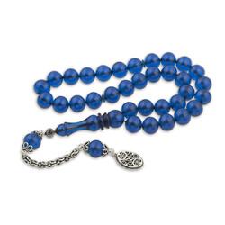Gumush - Gümüş Püskül Mavi Küre Sıkma Kehribar Tesbih