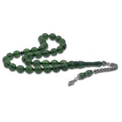 Gumush - Gümüş Püsküllü Yeşil Toz Kehribar Tesbih