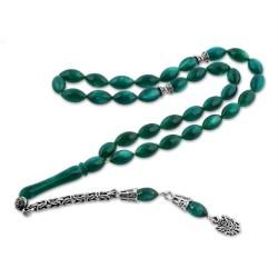 Gumush - Gümüş Püsküllü Yeşil Sıkma Kehribar Tesbih