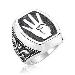 Gumush - Gümüş Rabia İşareti Erkek Yüzük