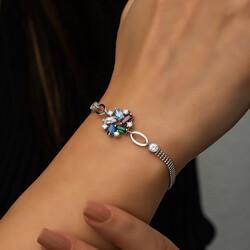 Gümüş Renkli Baget Taşlı Bayan Bileklik - Thumbnail