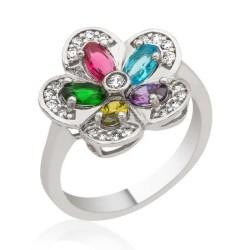 Gumush - Gümüş Renkli Taşlı Çiçek Yüzük