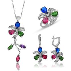 Gumush - Gümüş Renkli Çiçek Bayan Set
