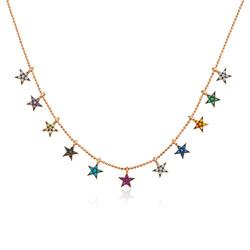 Gumush - Gümüş Renkli Yıldızlar Bayan Kolye