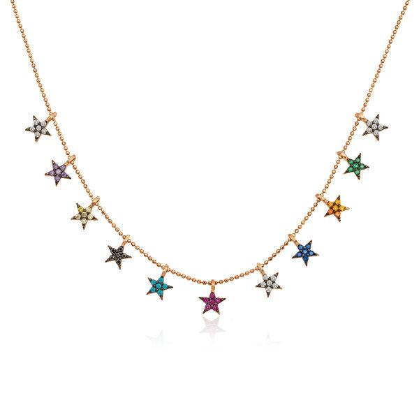 Gümüş Renkli Yıldızlar Bayan Kolye