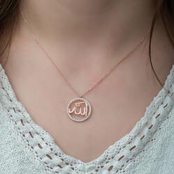 Gumush - Gümüş Rose Arapça Allah Yazılı Bayan Kolye (1)