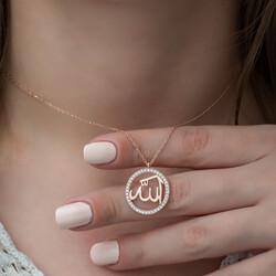 Gümüş Rose Arapça Allah Yazılı Bayan Kolye - Thumbnail