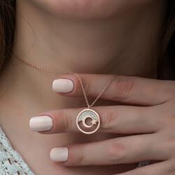 Gümüş Rose Ay Yıldız Bayan Kolye - Thumbnail