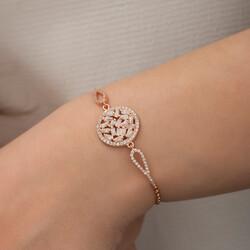 Gümüş Rose Baget Taşlı Bileklik - Thumbnail